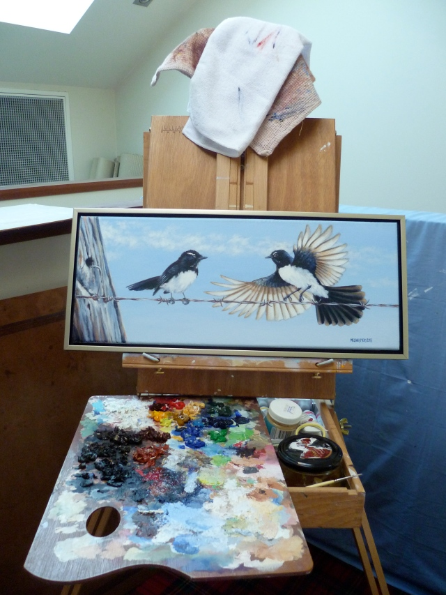 Willie Wagtails on Wire Copyright Megan Spiers