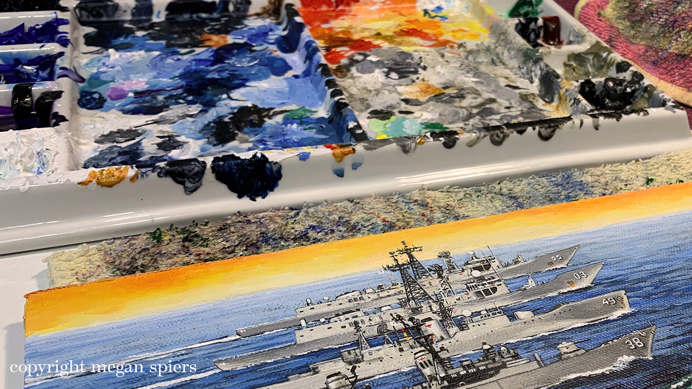 palette with acrylic painting by Megan Spiers